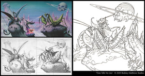 Free 'Time Tells No Lies' Colouring Sheet | Rodney Matthews Studios
