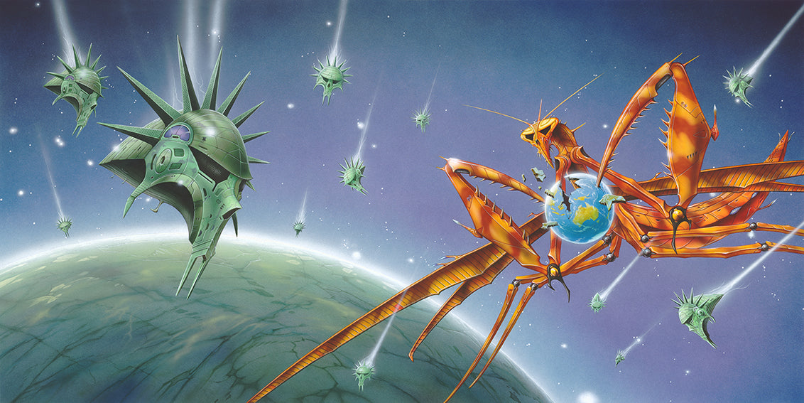 Gravity album art by Rodney Matthews for Praying Mantis
