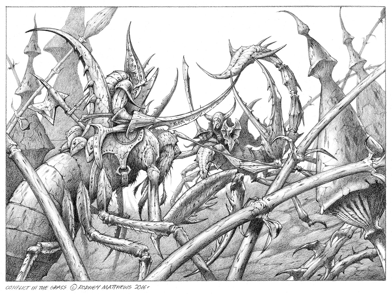 Conflict in the Grass by Rodney Matthews