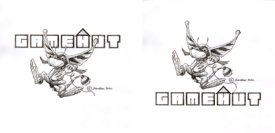 GameHut logo pencil designs by Rodney Matthews
