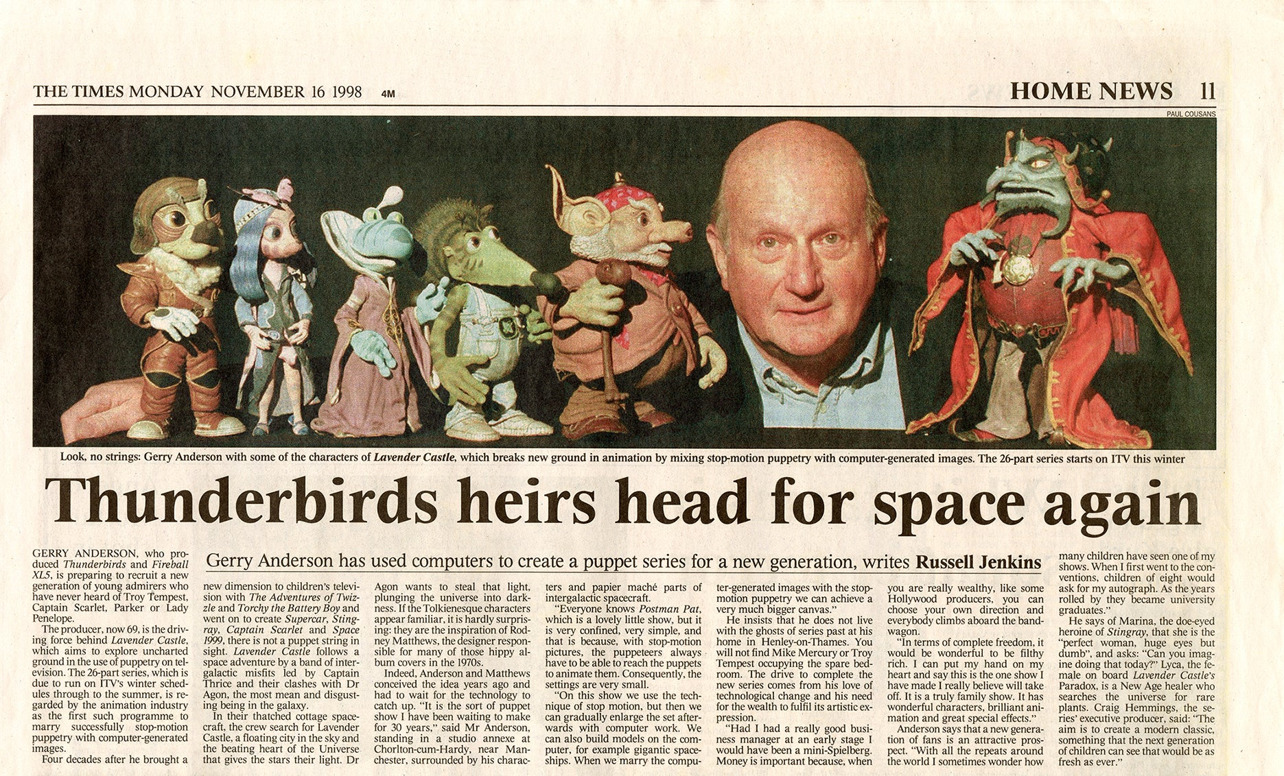 Gerry Anderson speaks Lavender Castle in The Times