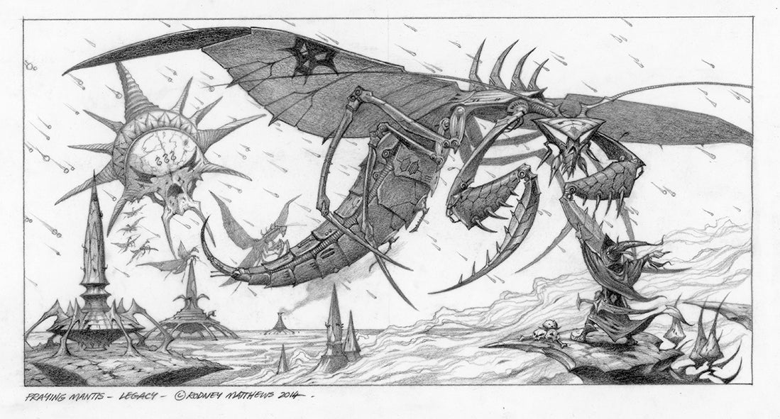 Praying Mantis Legacy Pencil Sketch | Rodney Matthews Studio