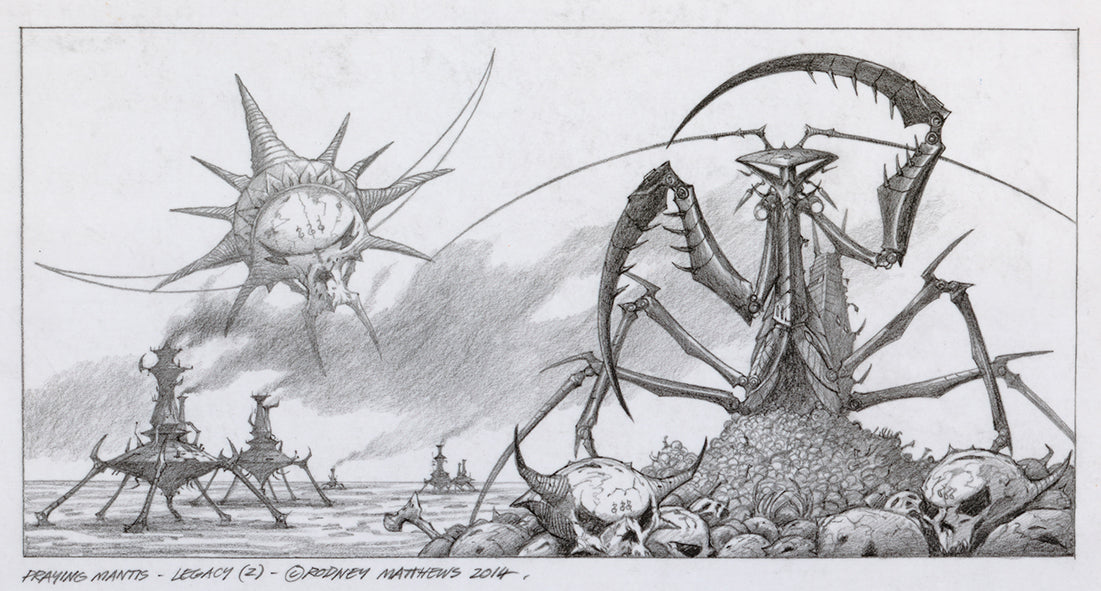 Praying Mantis Legacy Alternative Pencil Sketch | Rodney Matthews Studios