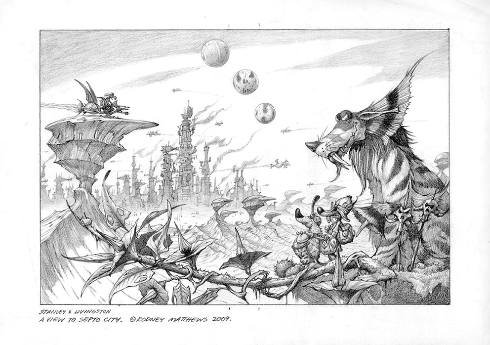 A View to Septo City pencil drawing © Rodney Matthews