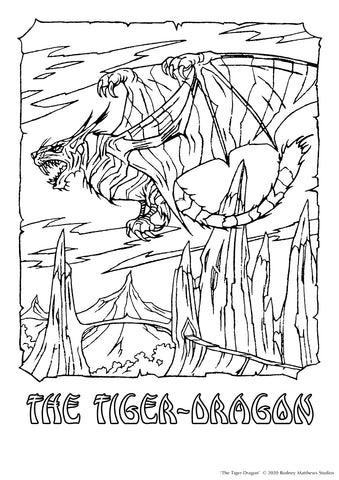 Free 'The Tiger-Dragon' Colouring Sheet © 2020 Rodney Matthews Studios