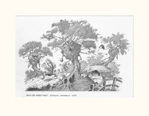 Down the Rabbit Hole (Alice in Wonderland) original pencil sketch by Rodney Matthews