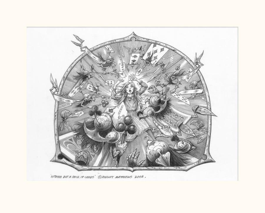 Nothing but a Pack of Cards (Alice in Wonderland) original pencil sketch by Rodney Matthews