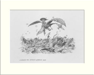 A Crowded Pool (Alice in Wonderland) original pencil drawing by Rodney Matthews