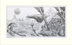 Aqua - Proposed (II) (Asia) original pencil drawing by Rodney Matthews