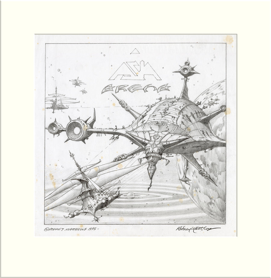 Arena - Alternative (Asia) original pencil drawing by Rodney Matthews