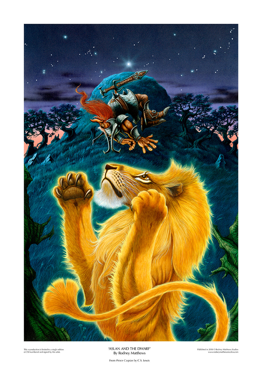 Aslan and the Dwarf limited edition giclèe art print