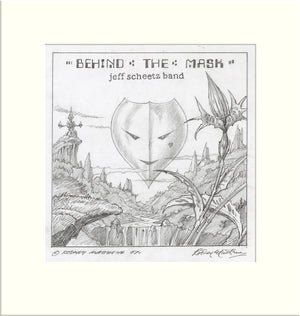 Behind the Mask (Jeff Scheetz Band) original pencil sketch by Rodney Matthews