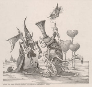 King, Cat and Executioner (Alice in Wonderland) original pencil sketch by Rodney Matthews