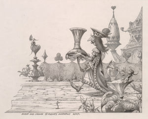 Knave and Crown (Alice in Wonderland) original pencil sketch by Rodney Matthews