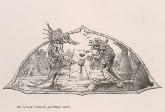 The Footmen (Alice in Wonderland) original pencil sketch by Rodney Matthews