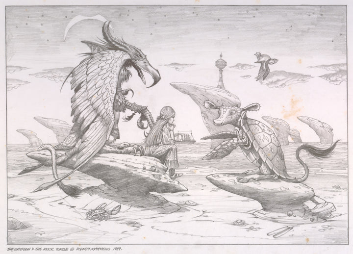 The Gryffin and the Mock Turtle (Alice in Wonderland) original pencil sketch by Rodney Matthews