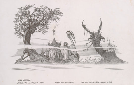To the Isle of Avalon (Tales of King Arthur) original pencil sketch by Rodney Matthews