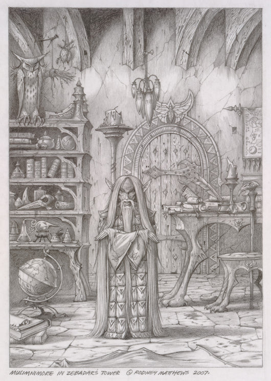 Mulimnimore in Zebadar's Tower (World of Illusions) original pencil sketch by Rodney Matthews