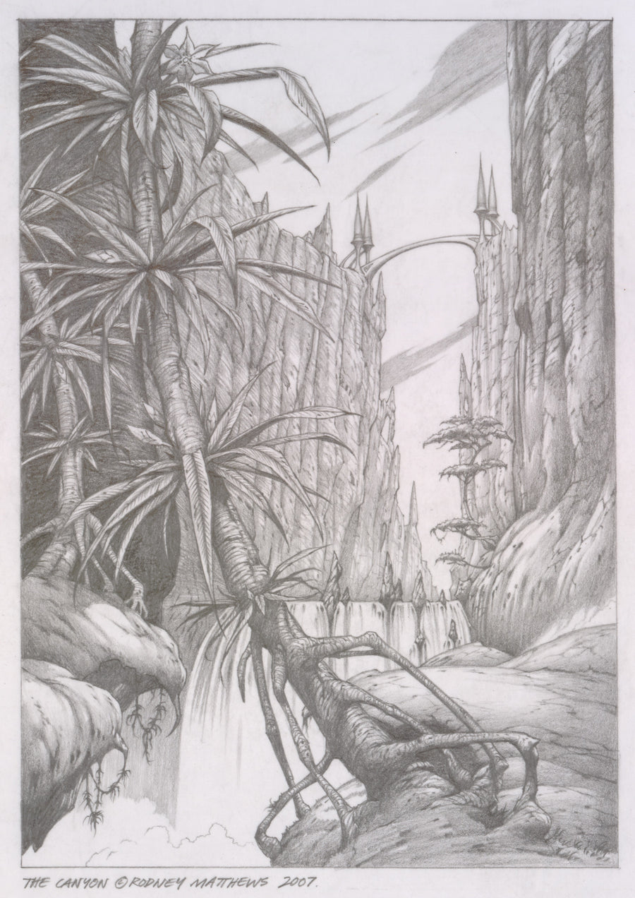 The Canyon (World of Illusions) original pencil sketch by Rodney Matthews
