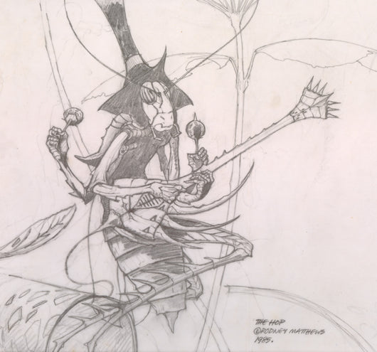 Detail from The Hop - Guitarist original pencil sketch by Rodney Matthews