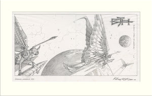 Caught in the Light - Alternative (I) (Barclay James Harvest) original pencil drawing by Rodney Matthews