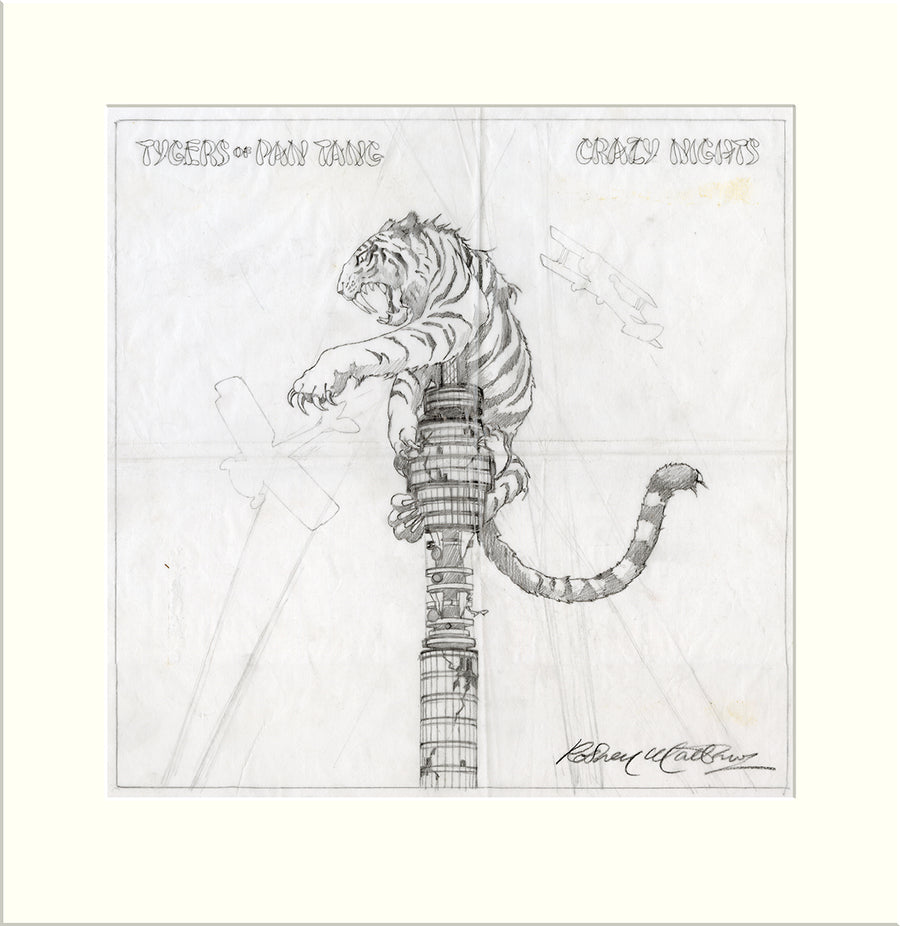 Crazy Nights (Tygers of Pan Tang) original preliminary sketch by Rodney Matthews