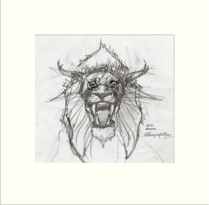 Detail from Arena (Alternative): Lion (Asia) preliminary sketch by Rodney Matthews