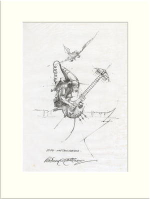 Detail from Be Watchful: Guitarist (Eloy) original pencil sketch by Rodney Matthews