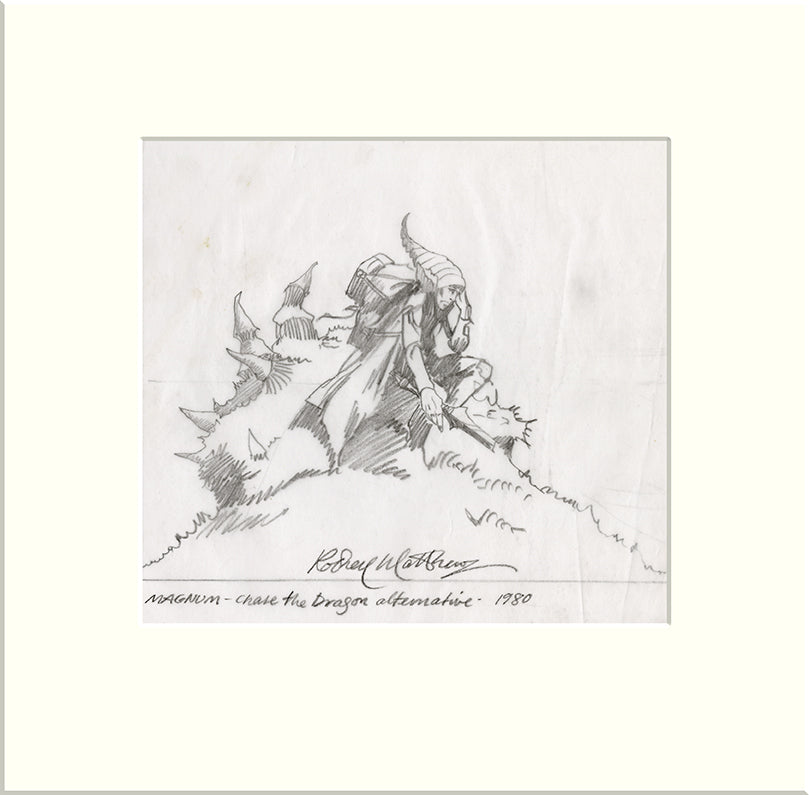Detail from Chase the Dragon - Alternative: Figure (Magnum) original pencil sketch by Rodney Matthews