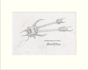 Detail from Encore at the End of Time: Guitar (Hawkwind) original pencil sketch by Rodney Matthews