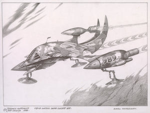 Small Shuttlecraft (Sony 989 Studios) original pencil sketch by Rodney Matthews