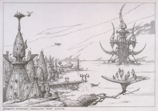 Dark Castle (Haven - The Call of the King) original pencil sketch by Rodney Matthews