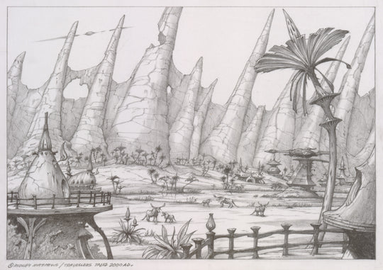 Defended Village (Haven - The Call of the King) original pencil sketch by Rodney Matthews