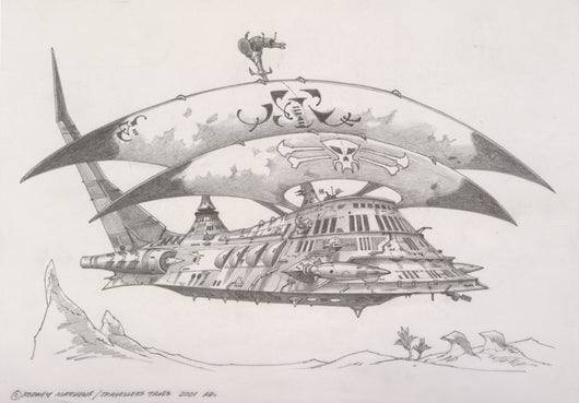 Pirate Ship (Haven - The Call of the King) original pencil sketch by Rodney Matthews