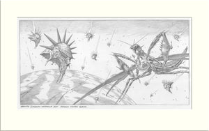 Gravity (Praying Mantis) original pencil drawing by Rodney Matthews
