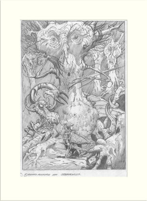 Jabberwocky (Through the Looking Glass/Oliver Wakeman and Clive Nolan) original pencil drawing by Rodney Matthews