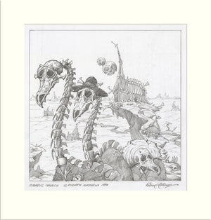 Jurassic Church (Alternative) (Rodd Christensen and Marco Palmer) original pencil drawing by Rodney Matthews