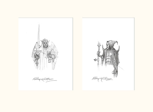 Angel and Grim Reaper (Magnum) original pencil sketch by Rodney Matthews