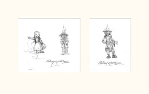 Details from LOTRTE (Magnum) - Dorothy, Scarecrow and Tinman original pencil sketches by Rodney Matthews