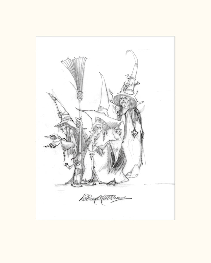Detail from LOTRTE (Magnum) - The Three Witches original pencil sketch by Rodney Matthews