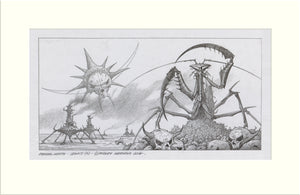 Legacy (2) Alternative (Praying Mantis) original pencil drawing by Rodney Matthews