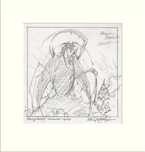 Legacy - Alternative Preliminary (Praying Mantis) original preliminary sketch by Rodney Matthews