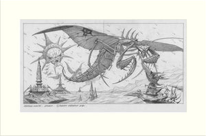 Legacy (Praying Mantis) original pencil drawing by Rodney Matthews
