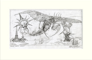 Legacy - Preliminary (Praying Mantis) original preliminary sketch by Rodney Matthews