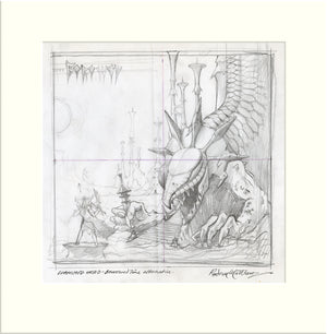 Living on Borrowed Time - Preliminary (Diamond Head) original pencil sketch by Rodney Matthews