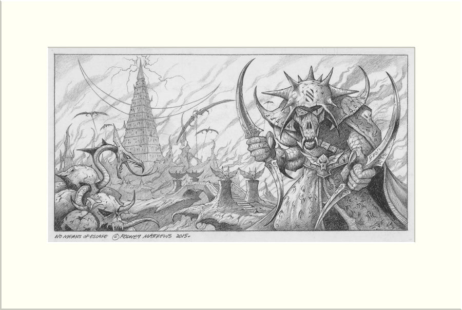 No Means of Escape (Nazareth) original pencil drawing by Rodney Matthews