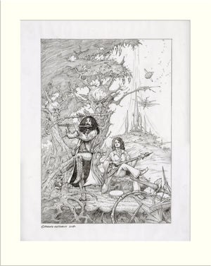 Prog Almighty (Ian Anderson and Jon Anderson) original pencil drawing by Rodney Matthews
