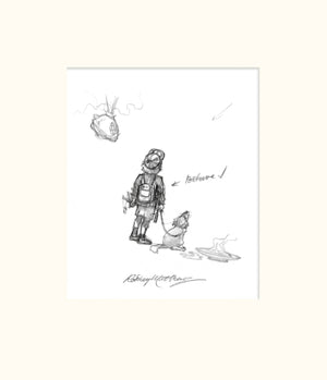 Detail from SB'D'L (Magnum) - Small boy, dog and Storyteller's bag original pencil sketch by Rodney Matthews