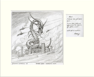 Serpent's Kiss - with hand-written notes (Atkins/May Project) original pencil drawing by Rodney Matthews
