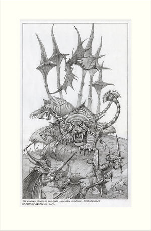 The Hunting Tigers of Pan Tang original pencil drawing